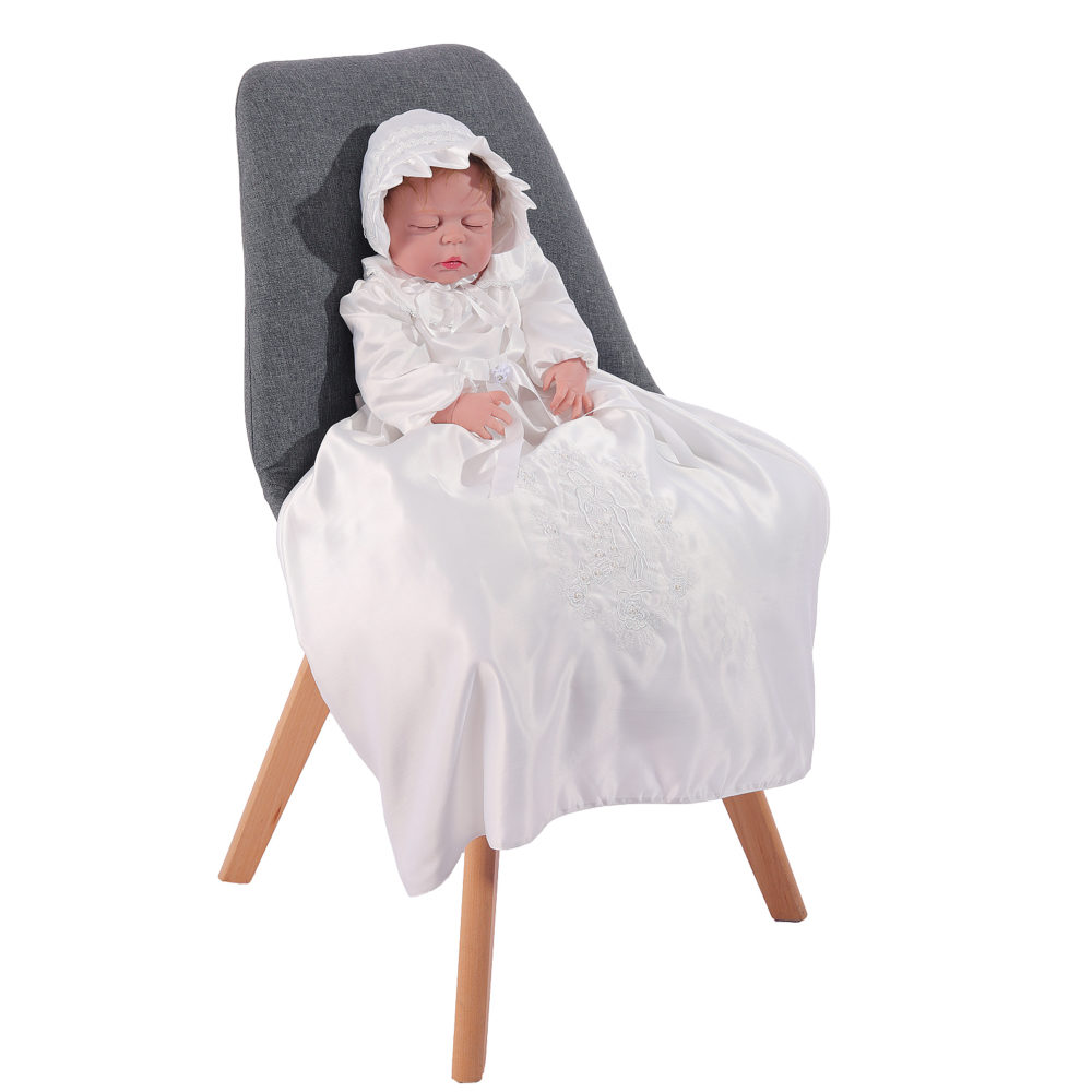 Long Sleeve Ivory Satin Christening Gown and Bonnet