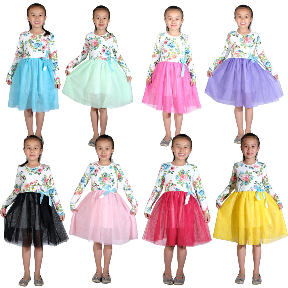 Girls Long Sleeved Flower Party Tutu Dress