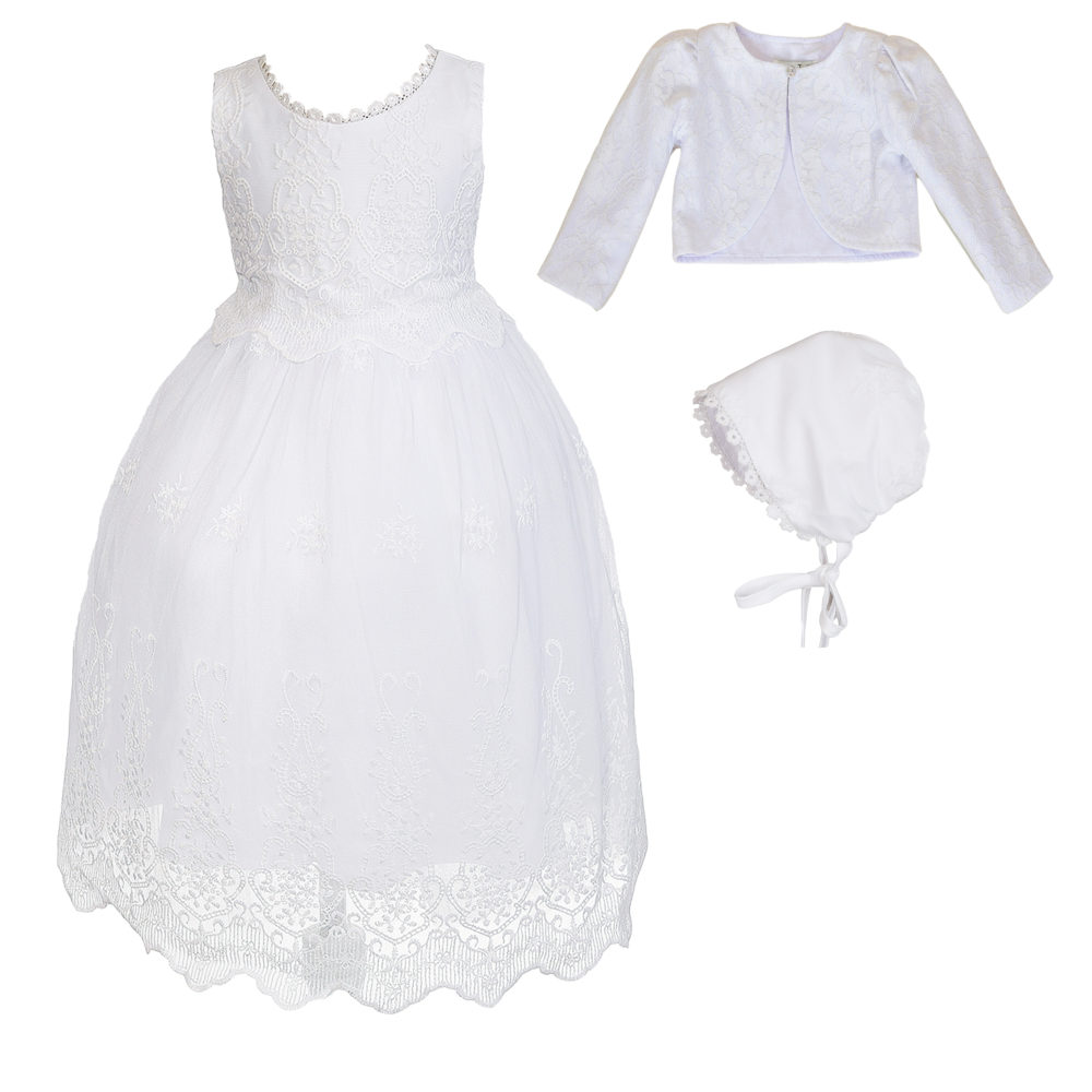 Baby Girls White Lace Christening Gown Bolero with Bonnet