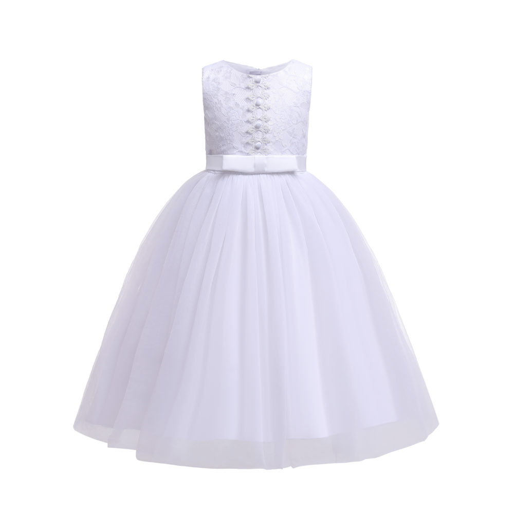 Holy Communion White Lace Bridesmaid Flower Girl Dress 7-13 Years