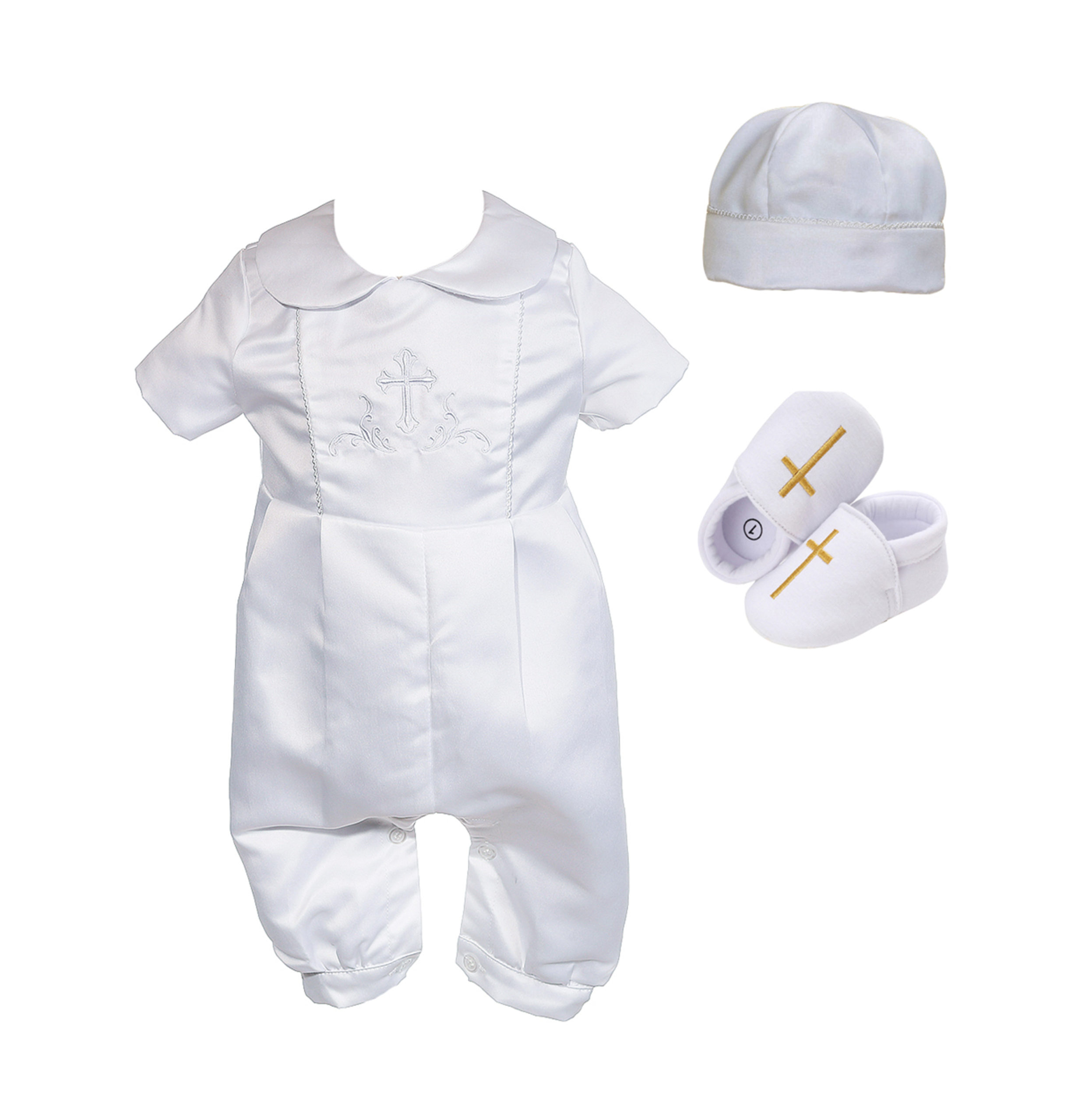 New Boys Satin Christening 3 Piece Set with Hat and Scarf 0-3 to 9-12 Months